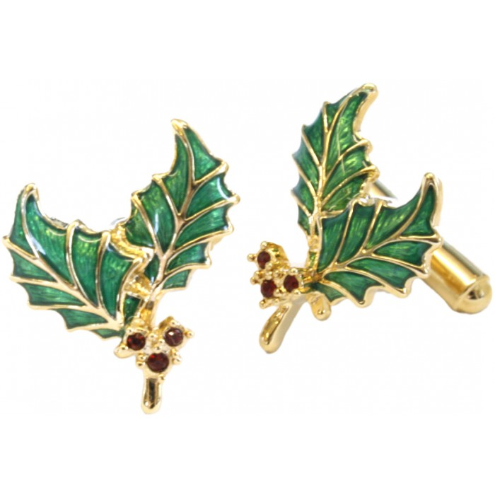 Gold Plated Red Crystal Enamel Holly Cufflinks