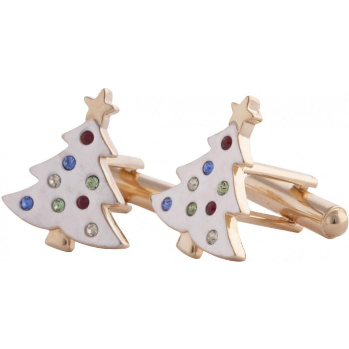 Gold Plated Multi-Colour Crystal Enamel Christmas Tree Cufflinks