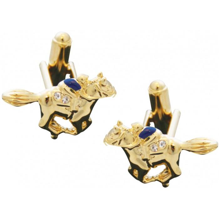Gold Plated Clear Crystal Enamel Jockey On Horse Equestrian Cufflinks
