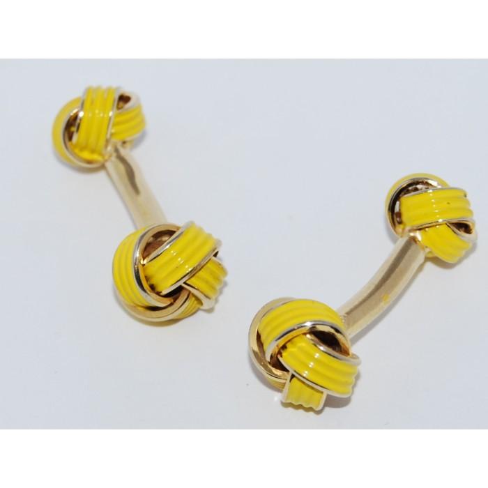 Gold Plated Enamel Knot Cufflinks