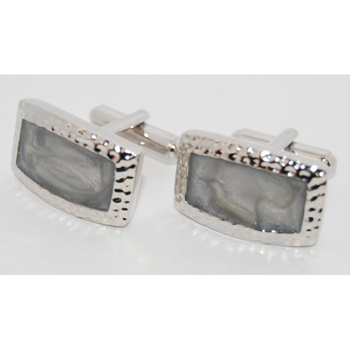 Rhodium Plated Grey Stone Oblong Cufflinks