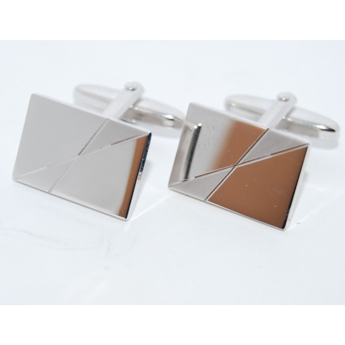 Rhodium Plated Crossed Matt And Mirror Rectangle Modern Cufflinks