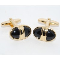 Black Stone Oval Cufflinks
