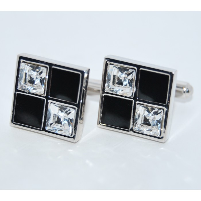 Rhodium Plated Black And White Crystal Check Cufflinks