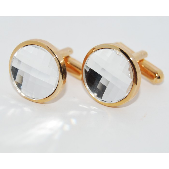Gold Plated Clear Crystal Round Cufflinks