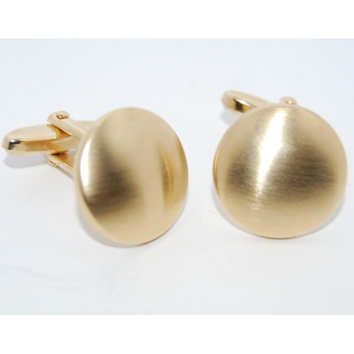 Gold Plated Matt Round Cufflinks