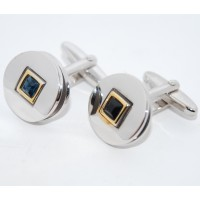 Blue Crystal Square On Round Cufflinks
