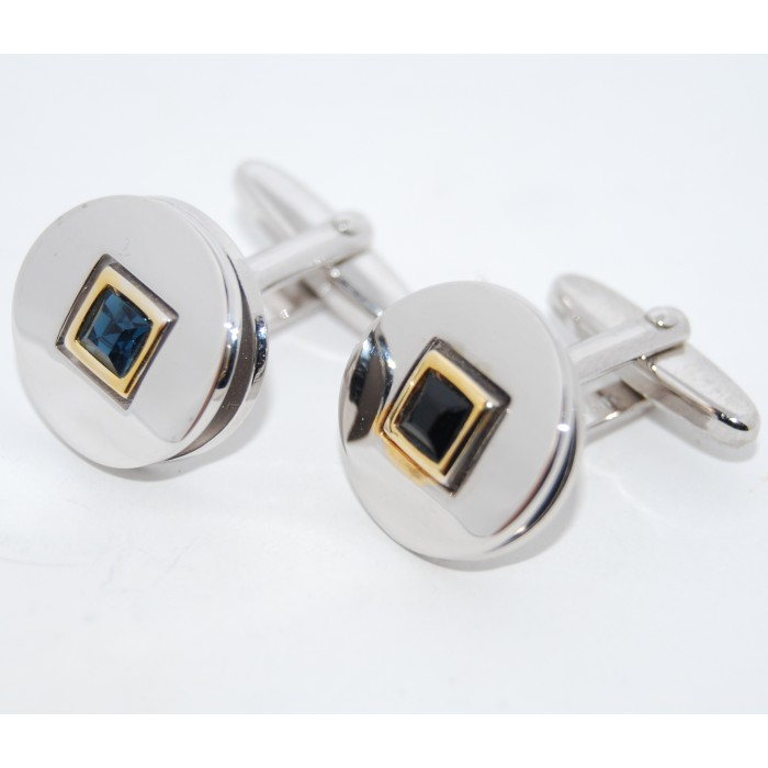 Rhodium Plated Blue Crystal Square On Round Cufflinks
