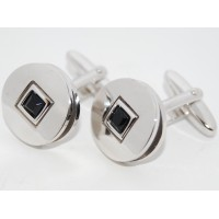 Black Crystal Square On Round Cufflinks