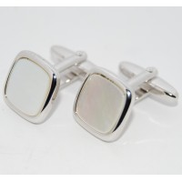Cloudy Mother Of Pearl Square Cufflinks