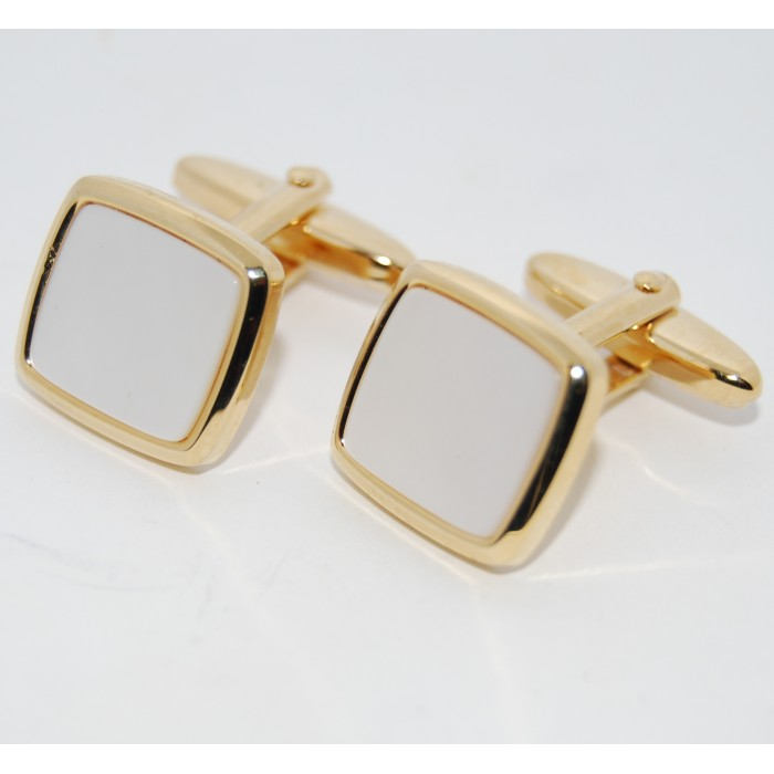 Gold Plated Cloudy Mother Of Pearl Square Cufflinks