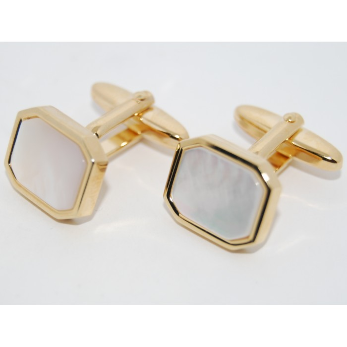 Gold Plated Cloudy Mother Of Pearl Rectangle Cufflinks