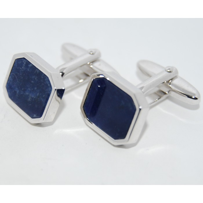 Rhodium Plated Blue Stone Rectangle Cufflinks