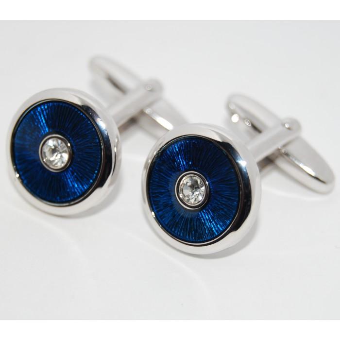 Rhodium Plated Clear Crystal Blue Enamel Round Cufflinks