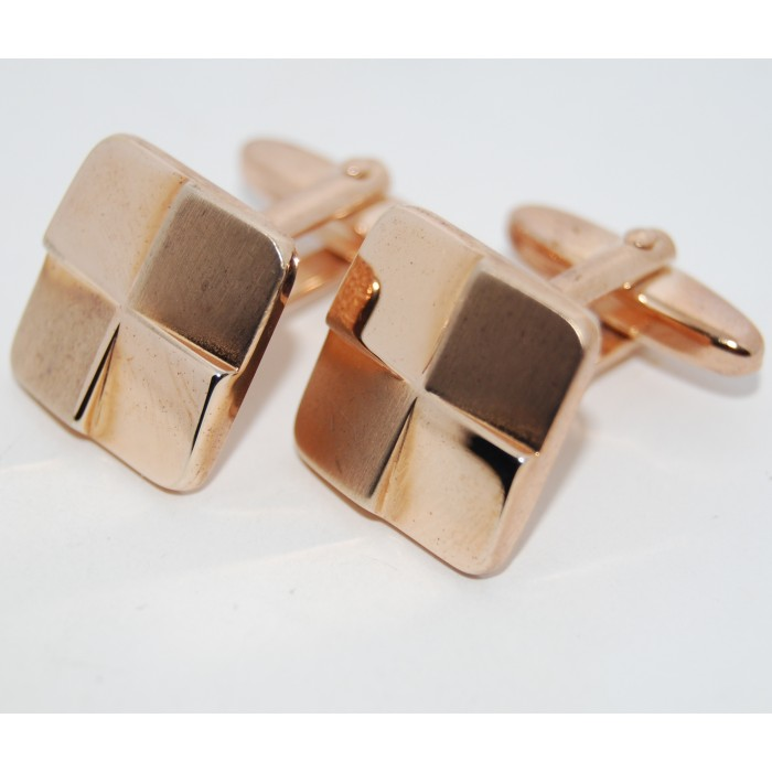 Gold Plated Crossed Matt And Mirror Square Cufflinks