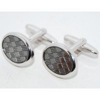 Crossed Grey Enamel Oval Cufflinks