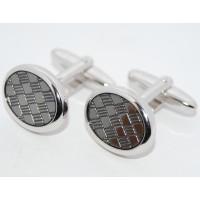 Crossed Grey Enamel Oval Cufflinks