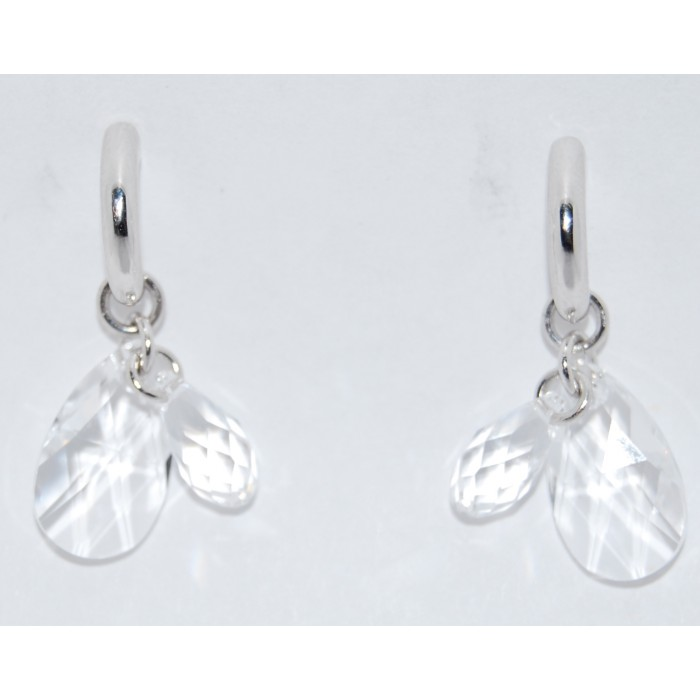 Rhodium Plated Clear Crystal Modern Earrings