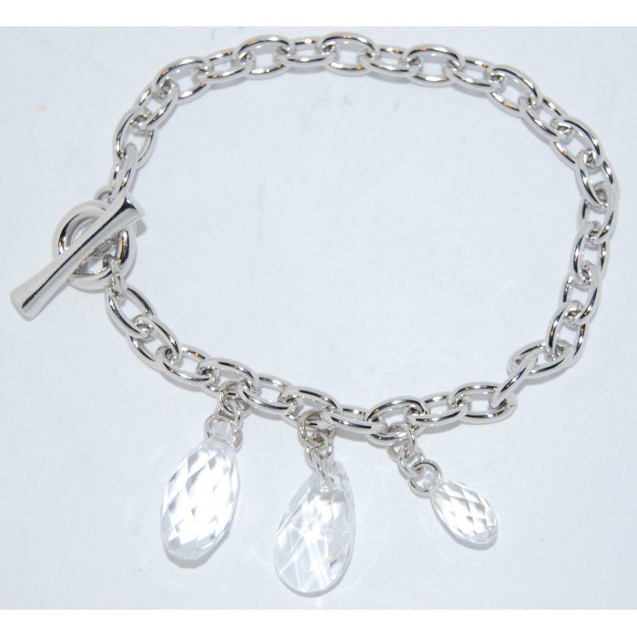 Rhodium Plated Clear Crystal Modern Bracelet