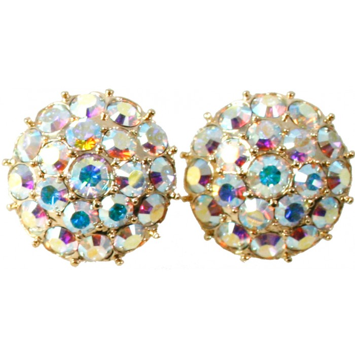 Gold Plated Clear Crystal Round Modern Earrings