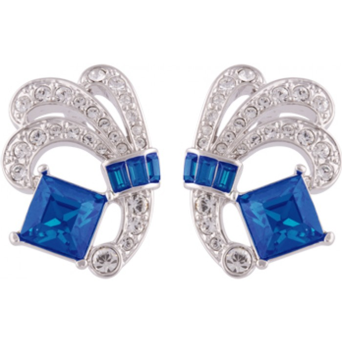 Rhodium Plated Blue And White Crystal Exquisite Earrings
