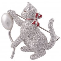 Cat And Baloon Brooch
