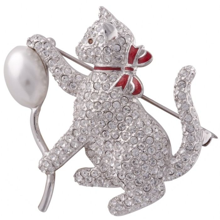 Rhodium Plated Clear Crystal Cat And Baloon Brooch