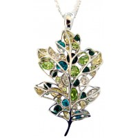 Multi-Colour Crystal Leaf Brooch Pendant