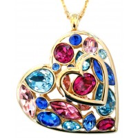 Multi-Colour Crystal Heart Brooch Pendant