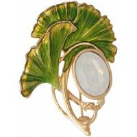 Cloudy Mother Of Pearl Art Nouveau Flower Brooch