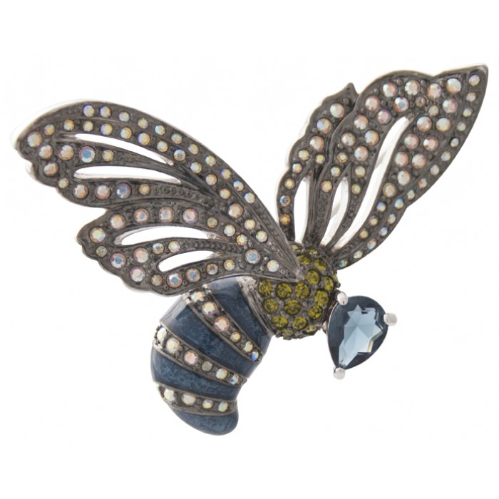 Rhodium Plated Multi-Colour Crystal Enamel Bumble Bee Brooch