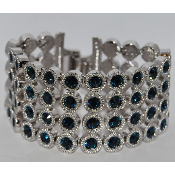 Rhodium Plated Blue Crystal Linked Exquisite Bracelet