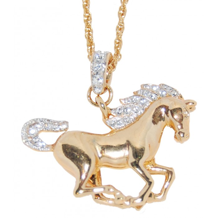 Gold Plated Clear Crystal Hose Equestrian Necklace