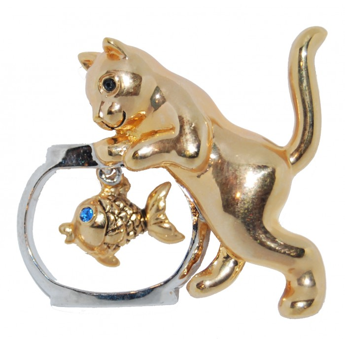 Gold Plated Black And Blue Crystal Cat And Fish Tank Brooch