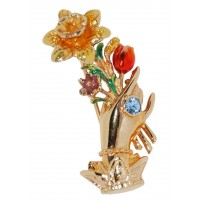 Aquamarine Crystal Enamel Hand With Flowers Vintage Brooch