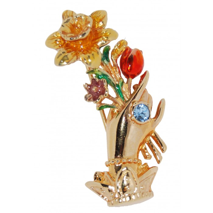 Gold Plated Aquamarine Crystal Enamel Hand With Flowers Vintage Brooch