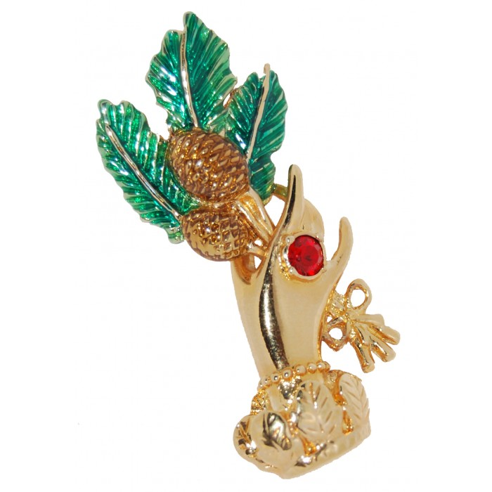 Gold Plated Red Crystal Enamel Hand With Flowers Vintage Brooch