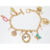 Multi-Colour Crystal Enamel Cat Charm Bracelet