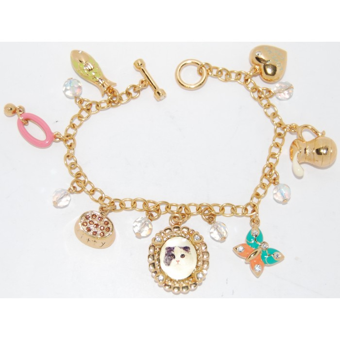 Gold Plated Multi-Colour Crystal Enamel Cat Charm Bracelet