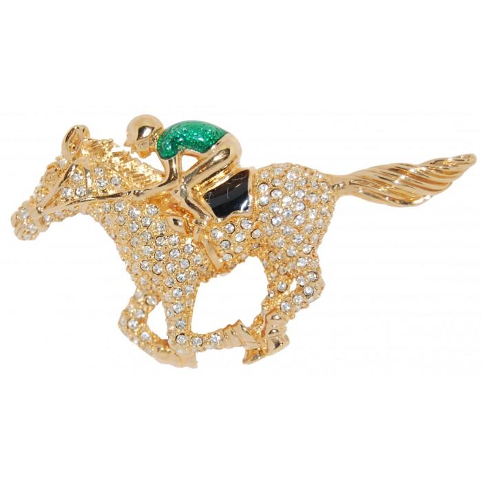 Gold Plated Clear Crystal Enamel Jockey On Horse Equestrian Brooch