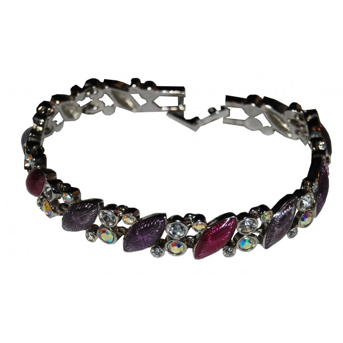 Rhodium Plated Clear Crystal Enamel Linked Bracelet