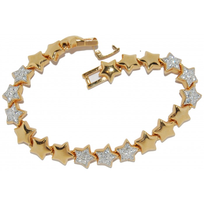 Gold Plated Clear Crystal Stars Bracelet