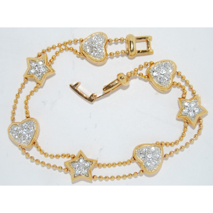 Gold Plated Clear Crystal Hearts And Stars Bracelet