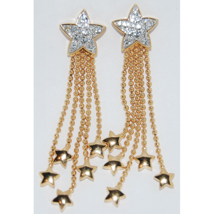 Gold Plated Clear Crystal Hearts And Stars Earrings