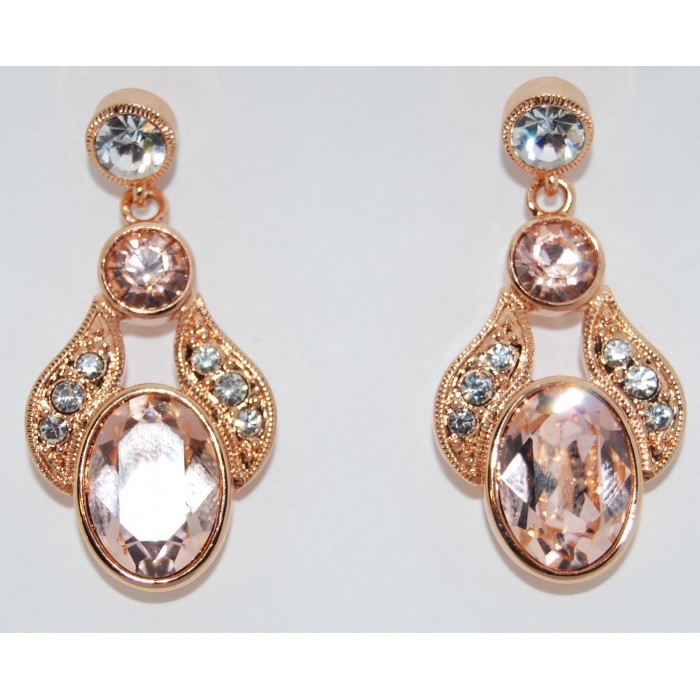 Gold Plated Champagne Crystal Exquisite Earrings