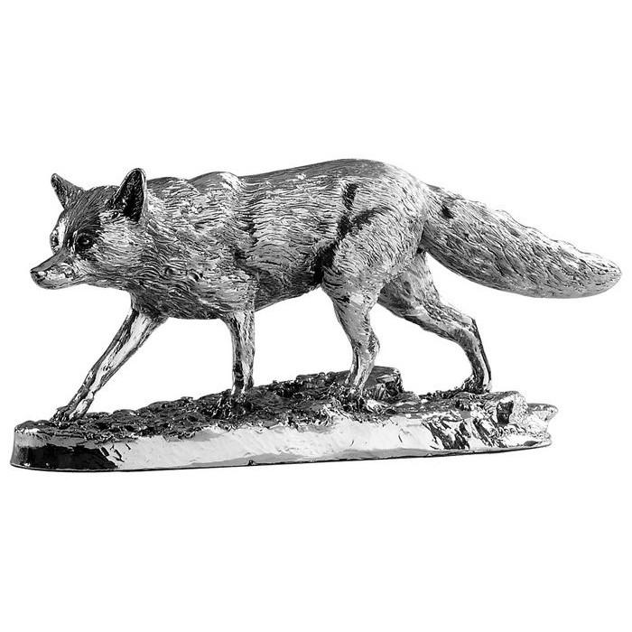Sterling Silver Stalking Fox Statue