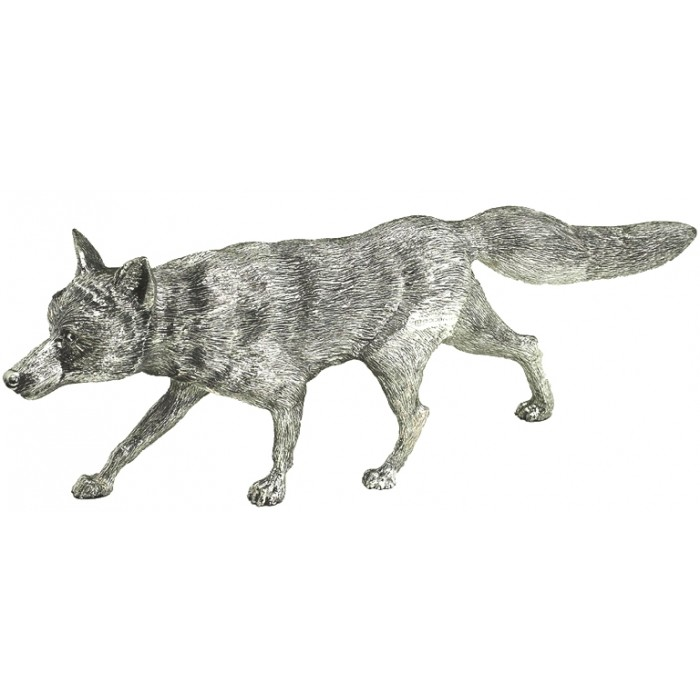 Sterling Silver Large Stalking Fox Statue