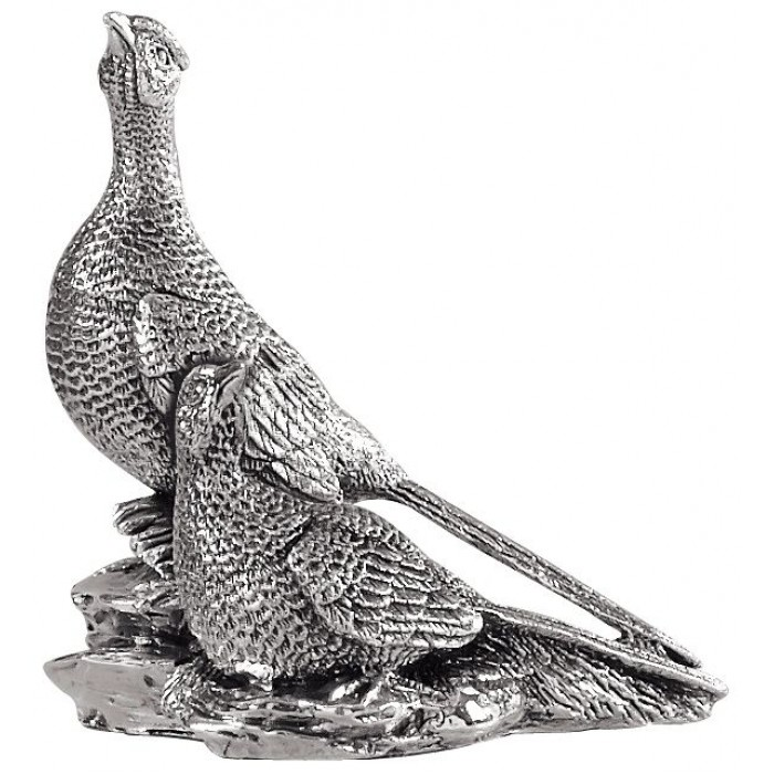 Sterling Silver Pheasant Pair Statue