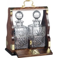 Silver Plated Brass Solid Oak Tantalus
