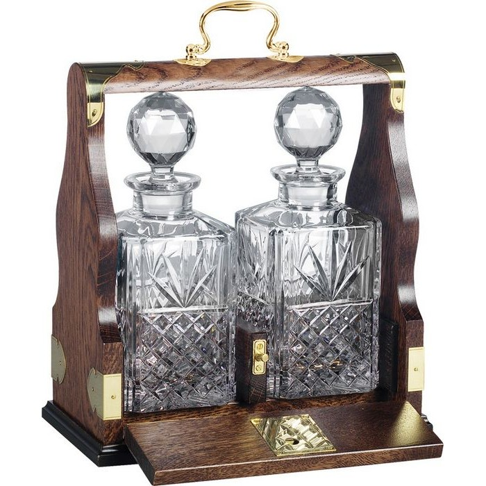 Two Decanter Solid Oak Tantalus (Silver Plated Brass Fittings)